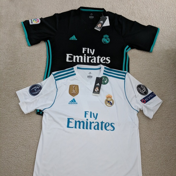 best sneakers bc958 6a483 2 Real Madrid Ronald Jerseys Black White Size XL NWT